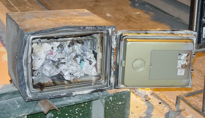 A safe shown after a fire test
